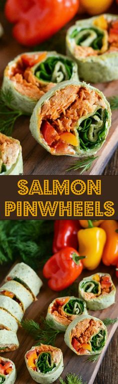 Salmon Pinwheels stuffed with sweet and spicy salmon, spinach, bell peppers…