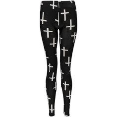 Boohoo Sadie Cross Print Leggings ($20) ❤ liked on Polyvore featuring pants, leggings, bottoms, jeans, flat-front pants, legging pants, cross print leggings, rayon pants and viscose pants