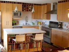 I have a friend who could really use this kitchen but maybe with a few more bookshelves. :)