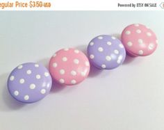 Adorable Pink and Grey Dot Drawer Knobs by TheLittleNursery