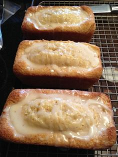 Eggnog Bread with Rum Glaze: I make it in mini loaf pans (4 to be exact) for one batch. If you don't wish to use alcohol try using juice as a nice substitution.