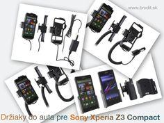 Nové držiaky do auta pre Sony Xperia Z3 Compact. Pasívny držiak Brodit pre pevnú montáž v aute, aktívny s CL nabíjačkou alebo s Molex konektorom.