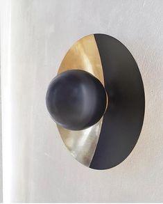 Metropolis scone in brass - black version by Jan Garncarek Design Architecture Design, Brass, Interiors, Sculpture, Interior Design, Lighting, Nest Design, Architecture Layout, Home Interior Design