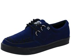 TUK Navy suede 2-ring creeper sneaker  #creepers www.drstrange.com...