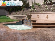 """Breeze 4b: The contoured angles of the Breeze, combined with the stairs and its full bench around the sides, make for a great place to relax at the end of the day. The Breeze is 8'6"""" x 11'6"""" and is 44"""" deep. For more information about Aloha Fiberglass Pools or to find a local pool builder in your area that can assist you, visit www.AlohaFiberglasspools.com or call (800) 786-2318."""