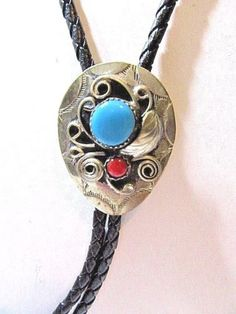 SOUTHWESTERN-COUNTRY-STYLE-BOLO-TIE-FAUX-TURQUOISE-amp-CORAL-STONES-VINTAGE-MENS