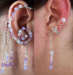 This One-Of-A-Kind Earwrap/Earcuff set is a gorgeous, glittering Air-themed way to dress up a costume or special occasion - or just to have fun! Zodiac Elements, Stocking Stuffers For Women, Elf Ears, Jewelry Making, Earrings, Handmade, Ear Cuffs, Seashells, Wire