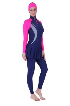 This skintight, hooded, skirted leotard and tights is described as - Modest swimwear Islamic Fashion, Muslim Fashion, Hijab Fashion, Fashion Outfits, Sports Hijab, Muslim Swimwear, Conservative Fashion, Retro Swimwear, Swimming Outfit