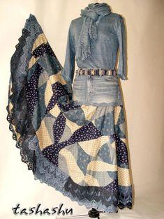 Создаем «кривое» лоскутное полотно и шьем «бохо» юбку из старых джинсов - Рукоделие - Моя копилочка