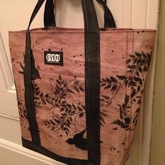 Carryall tote bag made from upcycle sailcoth and bike inner tubes art by Mr.Prvrt