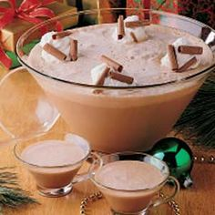 Mocha Punch Recipe.  Having a frosty glass of this chocolate punch is almost like sipping a chocolate shake. -  We served this at my son's open house.  People kept coming back for more.  He even got face book message for the receipe.  Teens love it.