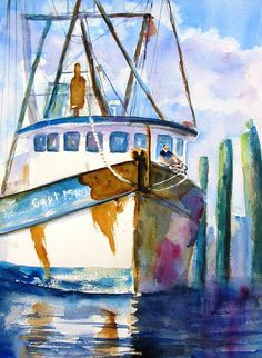 """""""Shrimp Boat Isra"""" Original Fine Art Watercolor Painting by Carlin Blahnik. This well worn shrimp boat is mostly white with paint from previous layers showing through along with rust stains from the hardware. A fisherman works one of the ropes on the bow. Green pylons of the dock fade into the distance. http://www.carlinart.com/ Buy Prints: http://carlin-blahnik.artistwebsites.com/featured/shrimp-boat-isra-carlin-blahnik.html"""