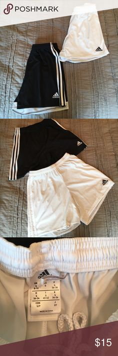 Bundle of 2 Adidas soccer shorts In gently worn good condition. No major signs of wear. No holes. Slight very very unnoticeable marks on white shorts. (See picture) price is for both but will sell separately. Both are size small climacool adidas shorts adidas Shorts