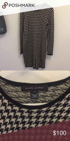 Houndstooth check sweater dress by Ralph Lauren 100% cashmere gorgeous Ralph Lauren sweater dress Ralph Lauren Dresses