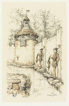 Herald Square Magic Clock - Tales of the Efteling by Martine Bijl and Anton Pieck *~❤ Holland, Anton Pieck, Dutch Painters, Dutch Artists, Netherlands, Illustrators, Fairy Tales, Vintage World Maps, Illustration Art