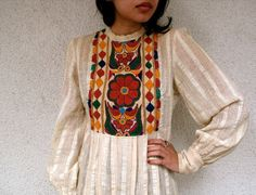 Beautiful Vintage 60s Hippie India embroidery