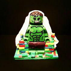 Lego Hulk, Marvel Avenger cake. With lego mini figures build a giant hulk. By Cakes-N-Sweets