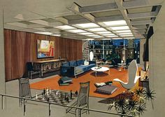 """Playboy magazine ran an article titled """"The Playboy Town House: Posh Plans for Exciting Urban Living"""" in their May 1962 issue. The fantasy bachelor pad, designed by architect R. Donald Jaye, was brought to life by Humen Ten's fantastic gouache and ink renderings"""