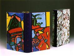 legatura ad intarsio in pelle di Luciano Fagnola su disegni del pittore Ugo Nespolo