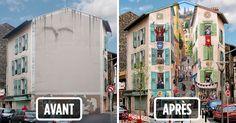 Avec son équipe, l'artiste de rue français Patrick Commecy crée d'immenses peintures murales hyperréalistes.