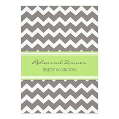 Lime Grey Chevron Rehearsal Dinner Party Cards