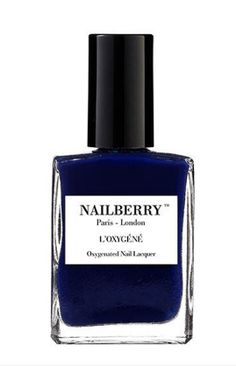 Shop now. Nailberry number 69. Oxygenated dark blue nearly black nail varnish. L'Oxygéné is a breathable and 5 Free of chemicals nail polish. In other words it means the natural physiology of your nails is respected as water and air pass through. It does not contain formaldehyde, DBP, toluene, synthetic camphor, or formaldehyde resin.