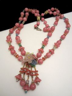 "Rare Vtg 20""x2"" Signed Miriam Haskell Pink Lucite Glass Rhinestone Necklace A12"