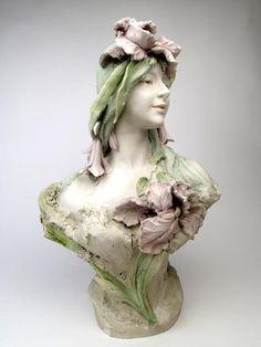 ROYAL DUX BOHEMIA - Art Nouveau Polychrome Ceramic Bust.