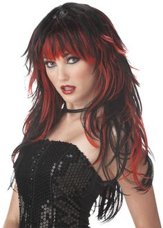 This red and black wig will really get people talking! Red/Black. One size fits most adults.