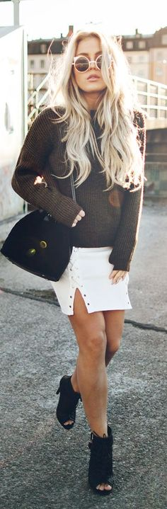 White Missguided Skirt Brown Chunky Turtleneck Fall Inspo by Angelica Blick