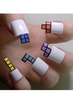 The craziest nails I've ever seen! Shaped like Tetris pieces.... I cannot... THIS.... JUST THIS!!!!!!