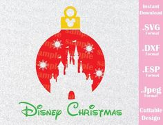 Disney Castle Christmas Ornament Disney Inspired Family Vacation Cutting File in SVG, ESP, DXF and JPEG Format