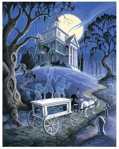 Discovered by lucky logan. Find images and videos about disney and haunted mansion on We Heart It - the app to get lost in what you love. Disney Halloween, Haunted Mansion Halloween, Halloween Art, Vintage Halloween, Walt Disney, Disney Rides, Disney Magic, Disney Fan Art, Disney Love