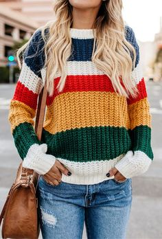 effortlessly stylish sweaters that we love. Sweater Fashion, Sweater Outfits, Striped Knit, Striped Sweaters, Ladies Dress Design, Ideias Fashion, Knitwear, Sweaters For Women, Baby Knitting