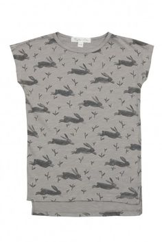 A cotton jersey slub T-shirt dress with an easy cut and an all over bunny print, by Rylee and Cru.