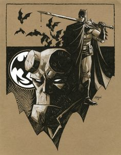 Batman & Hellboy by Dave Johnson Comic Art