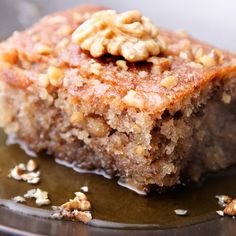 A delicious cake for afternoon tea.. Walnut Cake with Warm Vanilla Honey Sauce Recipe from Grandmothers Kitchen.