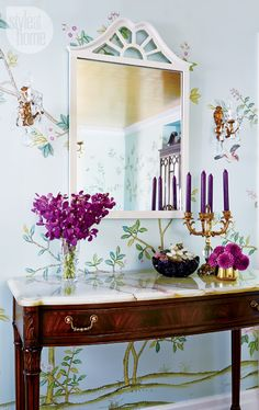 Console Table | Floral Wallpaper | House Tour | Jessica Waks | Style at Home | Interior Design