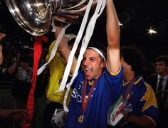 Alessandro Del Piero of Juventus celebrates winning the Champions League (European Cup at the time)