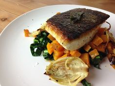 Pan Seared Halibut with Kale and Butternut Squash | Mallory's Kitchen - skip the butter