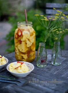 Curry Cauliflower Pickles Recipe- White on Rice Couple Cauliflower Pickle Recipe, Pickled Cauliflower, Cauliflower Curry, Cauliflower Recipes, Homemade Pickles, Pickles Recipe, Antipasto, Vegetarian Curry, Fermented Foods