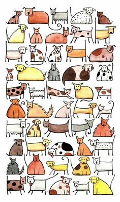 Simple drawn dog figures to watercolor.