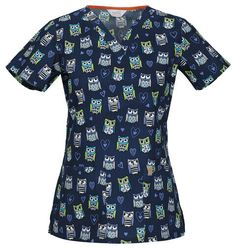 a3b959489a2 Code Happy 'V-Neck Print Top w/ Antimicrobial' Scrub Top Front patch  pockets Interior mesh instrument loop Signature mesh binding at the back  neck Side ...