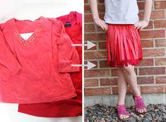 CUTE! t-shirts to girl's fringe skirt.