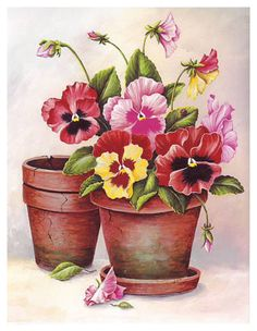 Potted Pansies - Great website for papertole/3D decoupage supplies