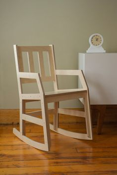 Modern rocking chair with a clean, updated design. The chair is quite comfortable and good at encouraging proper posture. Made with Baltic Birch plywood. Carefully sanded, assembled, and finished in o Plywood Furniture, Furniture Design, Plywood Chair, Bedroom Furniture, Furniture Ideas, Muebles Art Deco, Wooden Plane, Chair Design Wooden, Baltic Birch Plywood