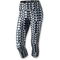 Nike Legend Diamond Print Capris ($45) ❤ liked on Polyvore featuring activewear, activewear pants, pants, leggings, athletic, workout, nike activewear, yoga activewear, nike activewear pants and nike