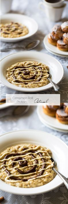 Healthy Cinnamon Roll Protein Oatmeal - This tastes EXACLTY like a cinnamon roll except it's SO quick, gluten free, protein packed and naturally sweetened. Healthy Breakfast Recipes, Best Breakfast, Brunch Recipes, Healthy Recipes, Healthy Baking, Breakfast Ideas, Healthy Eats, Healthy Cinnamon Rolls, Protein Oatmeal