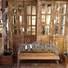 Antique Bench and Doors @ Palladio Garden in Memphis, TN: http://www.thepalladiogroup.com/reclamation.html (we ship all over the US)