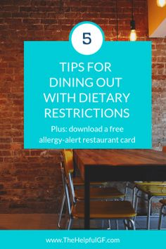 These are my top tips for eating out gluten-free at restaurants.  Ensure your food is safe for your celiac disease or other dietary restrictions when dining out!  #celiacdisease #foodallergy #glutenfreerestaurant